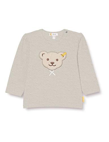 Steiff Baby-Mädchen mit süßer Teddybärapplikation T-Shirt Langarm, Soft Grey Melange, 086