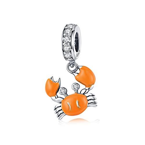 LaMeanrs Charm-Anhänger Krabbe Tiere Kollektion, aus 925er Sterlingsilber Emaille Cubic Zirkonia, passend für Pandora Europäische Charm Armbänder Halsketten (Sommerkrebse orange)