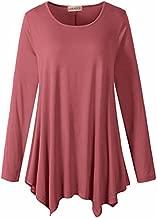 LARACE Womens Long Sleeve Flattering Comfy Tunic Loose Fit Flowy Top(S, Grayish Pink)