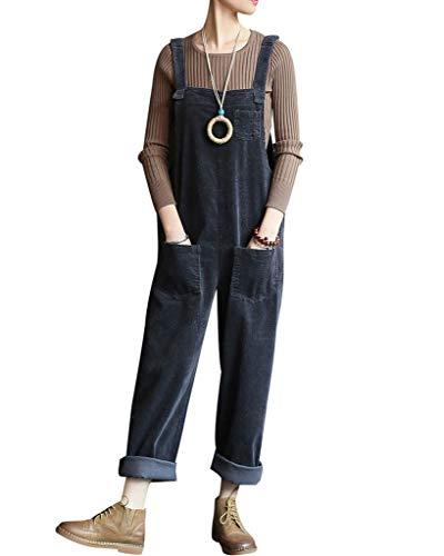 Bigassets Damen Baumwolle Cord Jumpsuits Spielanzug Hose Latzhose mit Taschen Grey