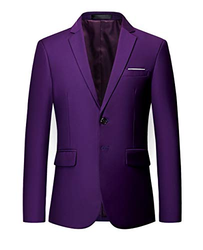 MOGU Mens Suit Jacket Slim Fit Single Breasted Two Button 10 Colors US 40 Asian 4XL Purple