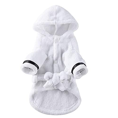 Soapow Albornoz para perro con capucha toalla de baño para mascotas y gatos, ropa de perro de secado rápido súper absorbente