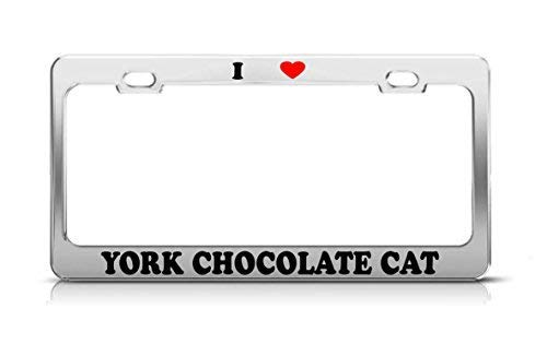 I Heart York Chocolade Kat Hond Puppy Puppy Plaat Frame Grappige Metalen Chroom Auto Accessoire Decor Geschenken