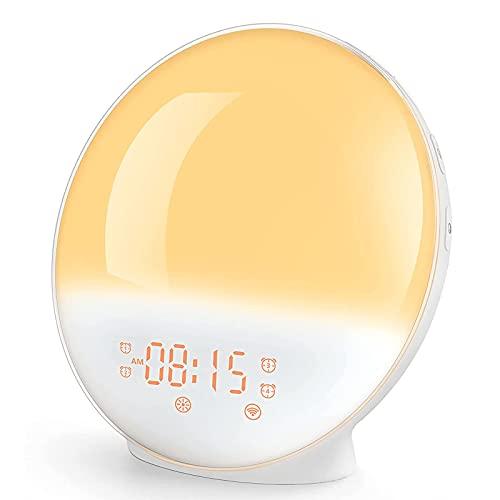 Reloj despertador con luz de amanecer para adultos y niños, funciona con Alexa, simulación de amanecer, ayuda para dormir, 4 alarmas, radio FM, repetición, 7 colores, 7 sonidos naturales