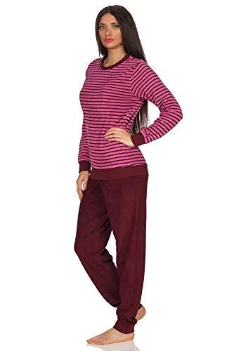 RELAX by Normann Lässiger Damen Frottee Pyjama Langarm mit Bündchen in Streifenoptik - 291 201 13 776, Farbe:pink, Größe2:40/42