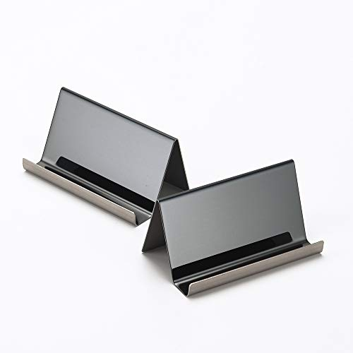 YOSCO - Soporte para tarjetas de visita de acero inoxidable para escritorio, oficina o visita, organizador para tarjetas de visita, 2 unidades., color negro