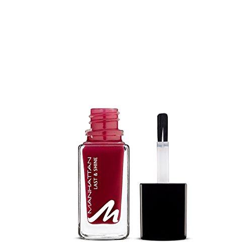 Manhattan Last & Shine Nagellack, Dunkelroter, glänzender Nail Polish für 10 Tage idealen Halt, Farbe Dark Dance 540, 1 x 10ml