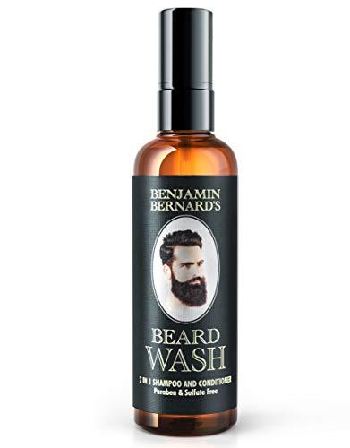 Baardshampoo 2-in-1 shampoo en conditioner, baardverzorging door Benjamin Bernard - Baard haarwasmiddel 100% natuurlijke oliën, baard shampoo met frisse geur, zonder parabenen en sulfaat - 100 ml