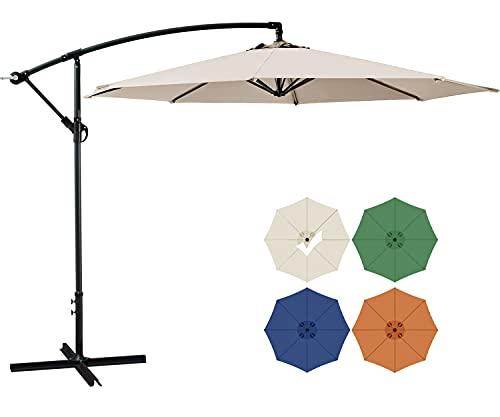 SUNHY 10 FT Patio Offset Umbrella Outdoor Cantilever Umbrella Hanging Umbrellas, Fade Resistant &...