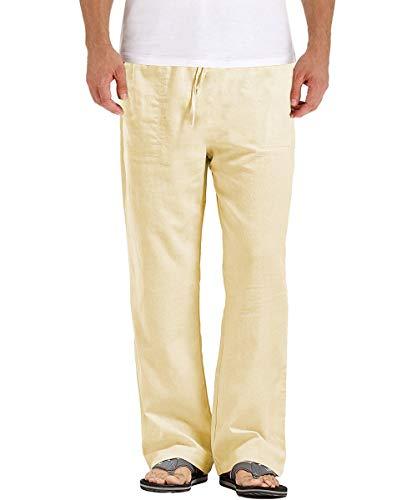 PERDONTOO Mens Cotton Linen Drawstring Pants Elastic Waist Casual Yoga Pants (Large, Khaki)