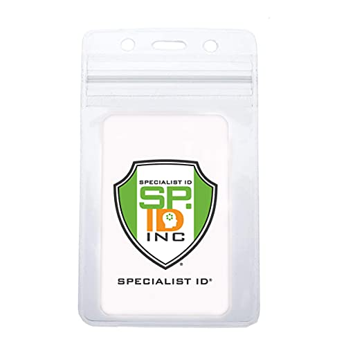 Clear Resealable Vertical ID Badge Holder with Zip Lock Top by Specialist ID, Sold Individually