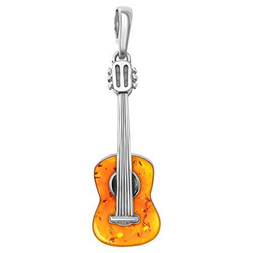 Andante Premium Collection – Pendentif en ambre de la Baltique véritable en argent sterling 925 ** Guitare ** Certifié – Or de la mer – Couleur cognac