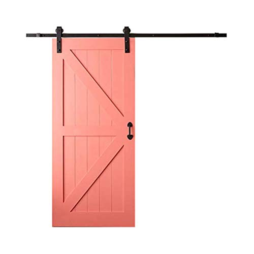 Puerta de granero corredizo Sistema de rieles Accesorios de puerta Hardware Granero de madera Rodillo deslizante Rodillo Correder 1.5m (Negro)