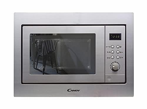 Candy MIC201EX - Microondas integrable con grill y marco, Potencia 800W-1000W, Capacidad 20L, 8 Programas, Acero Inox antihuellas