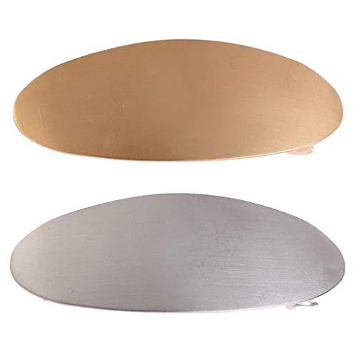 IPOTCH 2pcs Pinces à Cheveux Forme de Ovale Porte Barette Queue de Cheval pour Femme - Or + Argent
