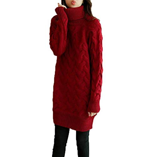 Vrouwen trui en trui herfst en winter Koreaanse stijl lange hoge kraag trui rok twist losse dikke wol dikke trui Eén maat wijnrood