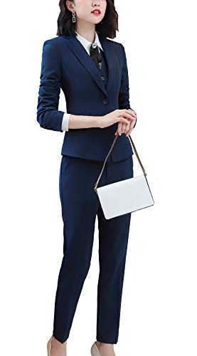 Dames Formele Drie Stukken Solid Blazer Suits Slank Een Knop Werk Suits voor Vrouwen Blazer Jack, Vest & Broek