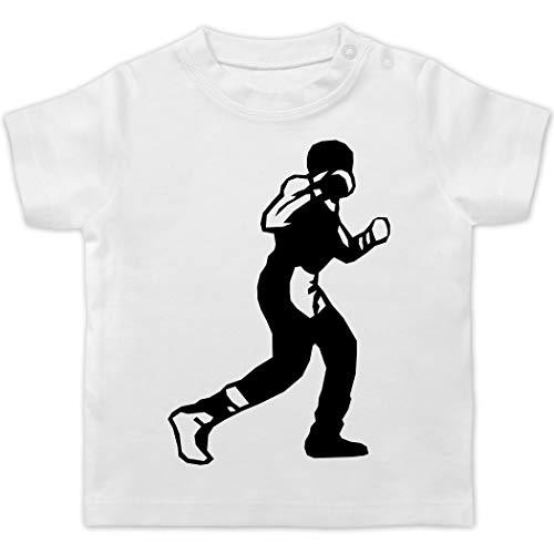 Sport Baby - Boxen Schlag - 1/3 Monate - Weiß - Silhouette - BZ02 - Baby T-Shirt Kurzarm