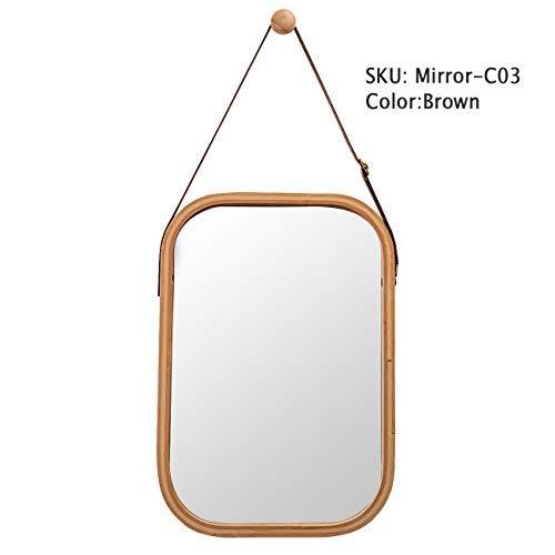 Wandspiegel Rechteckig Spiegel Badspiegel mit Verstellbarer Ledergürtel