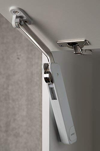 Gedotec Klappenbeschlag Klappenhalter Hochklappbeschlag FREE FLAP H 1.15 für einteilige Klappen aus Holz, Glas oder mit Aluminiumrahmen | Modell B: 1,2-6,5 kg Klappengewicht | 1 Garnitur