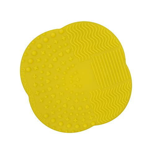 Dolovemk Makeup Brush Silicone Cleaning Pad Cosmetic Brushes Cleansing Mat Pad Washing Scrubber Board, 28g, 10cm/3.93inchs (Yellow)