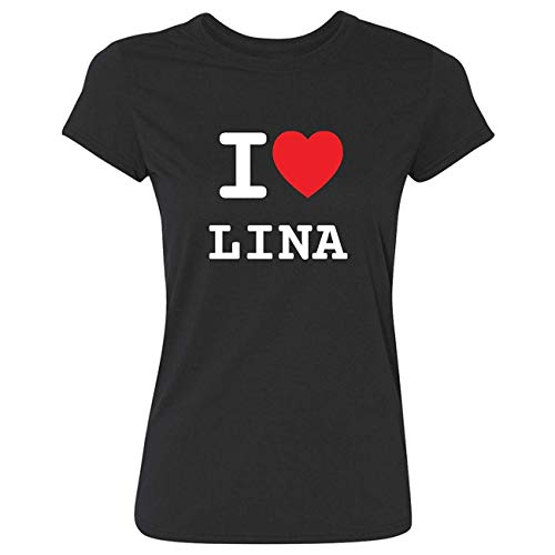 JOllify Frauen T-Shirt LINA G5637 - Farbe: schwarz - Design 1: I Love - Ich Liebe - Größe XS