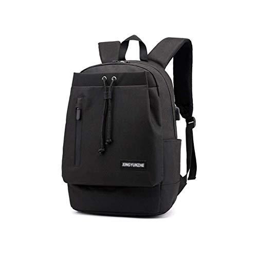 Dunne laptoprugzak met USB-oplaadpoort, schoolrugzak, waterdicht, voor reizen, geschikt voor een laptoptas met 39,6 cm (15,5 inch), Blanco Y Gris (zwart) - CS-YP343
