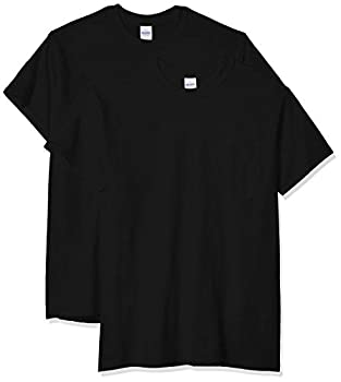 Gildan mens Ultra Cotton Adult T-shirt With Pocket 2-pack Shirt Black XX-Large US