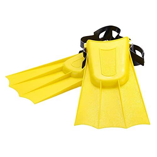 1 par de aletas cortas de buceo para buceo, aletas de natación, tacón ajustable, herramienta de agua para niños y adultos (amarillo, S)