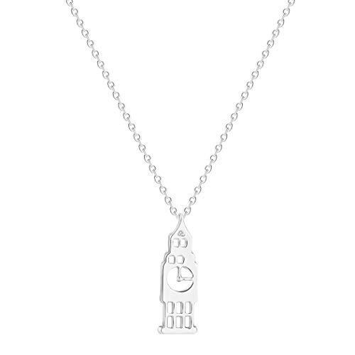 Collar con colgante de reloj de Londres para mujeres y hombres, joyería Big Ben, pequeña cadena de plata y oro, collar Collier Femme (plata)