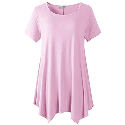 LARACE Womens Swing Tunic Tops Loose Fit Comfy Flattering T Shirt Pink