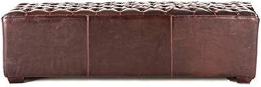 58-inch Leather Bench with Diamond Stitch Detailing Brown Solid Mid-Century Modern Bi-cast Birch Bronze Finish Tufted