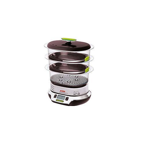 Seb VitaCuisine Compact - Pentola a vapore, 3 cesti a vapore, senza BPA, 2 vassoi per cottura, bicchierini in vetro, portauova, ricettario ultra compa
