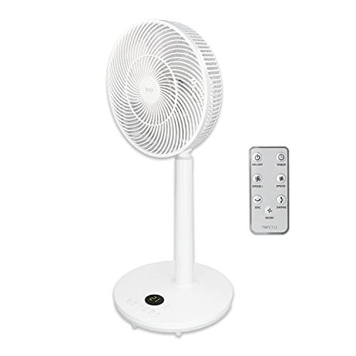 """TM Electron TMFC112 Vera Breeze Ventilador de pie portátil con 7 aspas de 12"""", silencioso, ligero, con mando a distancia y con conexión USB, 30 W, 38 Decibeles, ABS, Velocidades, Blanco"""