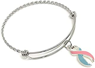 Pink and Blue Awareness Ribbon Bracelet: Pregnancy and Infant Loss Awareness
