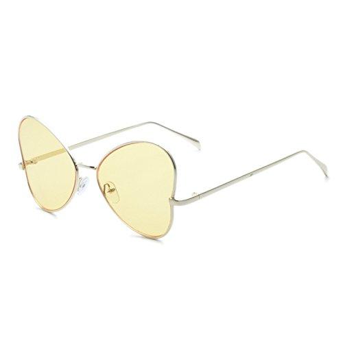 Sunyan Neue Frauen Antike Gläser runden Gesicht tide elegante Sonnenbrille Koreanischen weiblichen Charakter3226, Goldgelb transdermale Tablet gerahmt