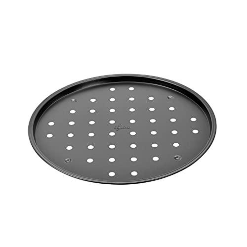 Lagostina Gustosa Teglia Pizza Forata in Acciaio Antiaderente per Forno, Nero, Diametro 32 cm