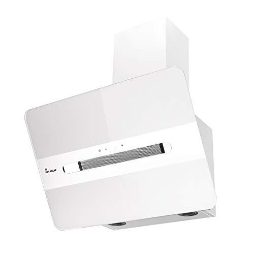KKT KOLBE Campana extractora de pared / 80cm / acero inoxidable/cristal blanco/extra silencioso / 9 pasos/iluminación LED/botones de sensor TouchSelect/apagado automático / ORION8109W