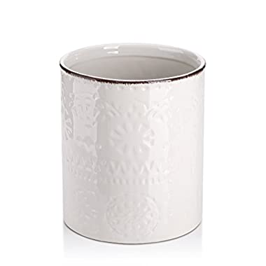 Lifver Fine Embossed Ceramic Crock Utensil Holder, 7.2  x 6.2 , White