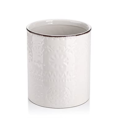 DOWAN Utensil Holder, Ceramic Kitchen Utensil Holder with Cork Mat, Embossed Utensils Holder, White