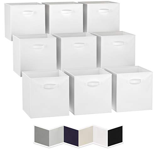 13x13 Large Storage Cubes Set of 9 Fabric Storage Bins with Dual Handles  Cube Storage Bins for Home and Office  Foldable Cube Baskets For Shelf  Closet Organizers and Storage Box White