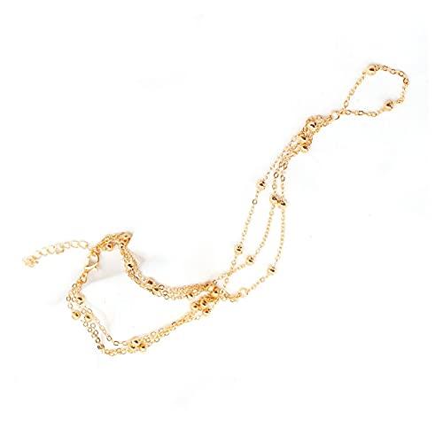 Oro Color Plateado Multicapa Cadena Delgada Tobillos Tobilleras Mini Metal pequeño Bola Punta Anillo Anklet joyería para Las Mujeres (Color : Gold-One pcs)