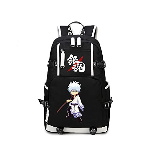 Anime Gintama USB Backpack Mochilas Escolares Mochila Hombres Mujeres Viajes Laptop Bolsas De Hombro Regalo Negro