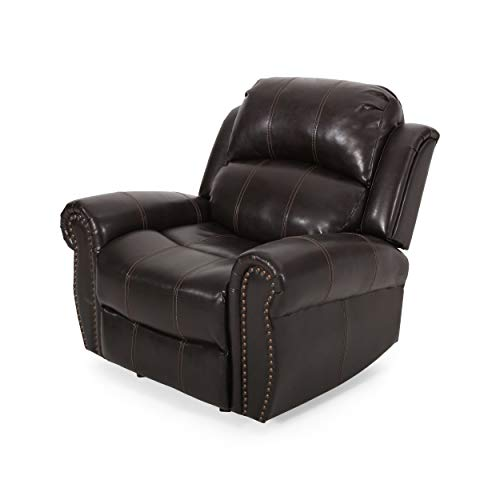 Christopher Knight Home Gavin Bonded Leather Gliding Recliner, Brown