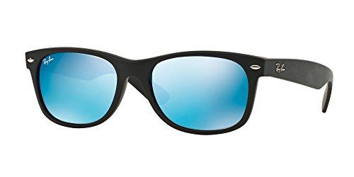 Ray Ban RB2132 NEW WAYFARER 622/17 55M Rubber Black/Grey Mirror Blue Sunglasses For Men For Women