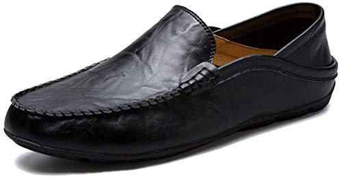 AARDIMI Herren Mokkasins Slip on Casual Männer Loafers Frühling und Herbst Herren Mokassins Schuhe aus echtem Leder Herren Wohnungen Schuhe, 46 EU, Schwarz