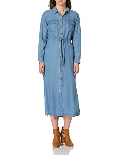 ONLY Damen ONLCASI LS Life Tencel DNM MAX Dress QYT Kleid, Medium Blue Denim, XL