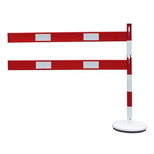 VISO Absperrpfosten-Anbauset - mit 1 Pfosten, 2 Planken, rot/weiß - Absperrpfosten Absperrungen Parkplatzsperren Leitsysteme Sperrpfosten Personenleitsysteme Absperrpfosten Absperrungen