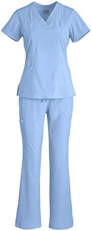 BARCO One 5105 5206 Women s V Neck Top Midrise Cargo Pant Medical Scrub Set Ciel Blue L L product image