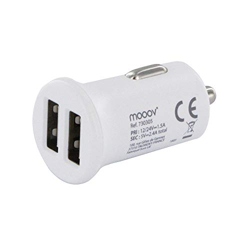 Mooov - Cargador Doble USB para mechero de Coche (2,4 A)